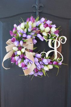 Tulip Wreath/Miniature Tulips/ Garden Decor/ Easter Decor ideas/Etsy Wreath/Mothers Day Gifts/Spring Wreath/Monogrammed Gifts