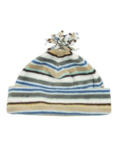 Kids Green Striped Fleece Beanie Hat #ChiaraFashion