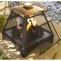 Pagoda Copper Fire Pit, Multicolor