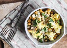 Roasted Cauliflower and Chickpeas With Lemon-Dijon Dressing - Dishing Up the Dirt