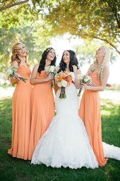 Long peach bridesmaid dresses and other peach wedding ideas.