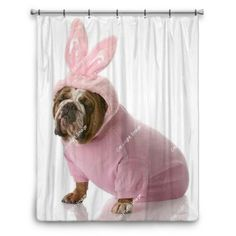 Dog Dressed Up As Easter Bunny Shower Curtain 70x90 at http://www.visionbedding.com/dog-dressed-up-as-easter-bunny-shower-curtain-70x90-p-3270243.html  #Home Decor,#Dog Dressed Up As Easter Bunny Shower Curtain 70x90