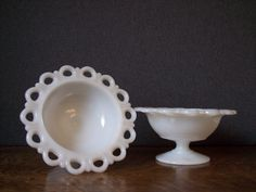 Vintage Milk Glass Pair of  Pedestal Bowl with by SherwoodVintage, $18.00