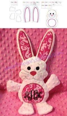ITH bunny stuffed animal. In the hoop embroidery