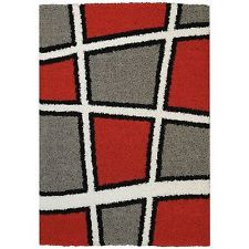 Maxy Home Shag Geometric Tile Design Red Black White Grey Area Rug (5' x 7')