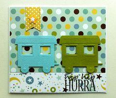 """Cards for Kids train birthday card - til og fra kort fødselsdag børn - Echo park """"Bundle of Joy"""" paper design #echopark Bundle of Joy Boy Collection. #echoparkpaper - JKE"""