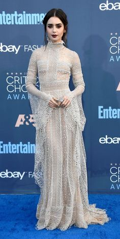 Lily Collins in Elie Saab attends The 22nd Annual Critics' Choice Awards. #bestdressed