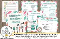 Free Printable Summer Kitchen Camp Bundle