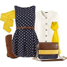Navy and Yellow, created by chelseagirlfashion on Polyvore
