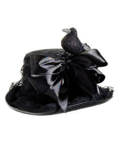 Black Lace Glitter Crow Hat