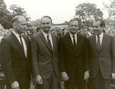 (November 5, 1969) President Nixon meets the Apollo 11 astronauts, Neil A. Armstrong, Edwin E. Aldrin,Jr., and Michael Collins, on the lawn of the White House on their return from their Global Goodwill Tour. The GIANTSTEP-APOLLO 11 Presidential Goodwill Tour emphasized the willingness of the United States to share its space knowledge. The tour carried the Apollo 11 astronauts and their wives to 24 countries and 27 cities in 45 days