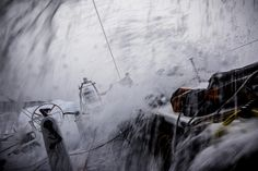 October 31, 2014. Leg 1 onboard Team Alvimedica. Day 20. A 6AM jibe east and an early build in windspeed keep Team Alvimedica on their toes with a week of hard sailing left until Cape Town. Wet and windy sailing onboard Alvimedica. Amory Ross/Team Alvimedica/Volvo Ocean Race