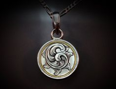 Hand Engraved Art Nouveau Inspired Sterling Silver Elegant English Scrollwork Necklace On An Indian Picture Engraving, Metal Engraving, Jewelry Crafts, Jewelry Art, Art Nouveau, Silver Quarters, Silver Lockets, Men Necklace, Silver Coins