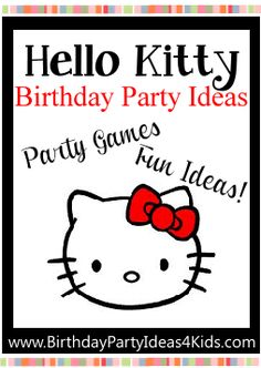 Hello Kitty theme birthday party ideas, party games, activities, party food, favors and more! Everything you need to plan the perfect Hello Kitty party! Easy Birthday Party Games, Kitty Party Games, Cat Party, 5th Birthday, Birthday Ideas, Birthday Parties, Hello Kitty Party Supplies, Hello Kitty Theme Party, Hello Kitty Birthday