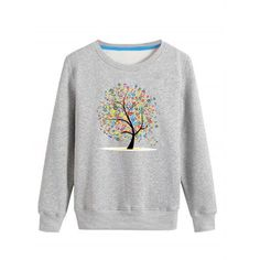 Prezzi e Sconti: #Letter tree print crew neck long sleeve Instock  ad Euro 19.15 in #Gray #Mens clothing mens hoodies