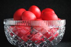 Greeks traditionally dye Easter eggs red. You have to get a special dye from the Greek store and my mom said it is better to start with brown eggs as you get a richer red.