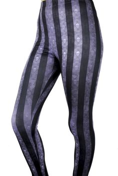 Alternative Grunge Black & Gray Skull Stripe Leggings