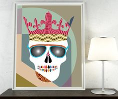Skull Wall Art Print, Skull Crown, Skull Glasses, Skull Poster, Skull Wall Hanging, Skull Decor, Skull Drawing, Skull Pop Art Painting