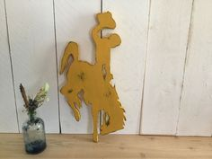 Cowboy Sign - Bucking Horse Decor - Wyoming Pride Sign - Rustic Wood Sign