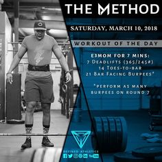 -WORKOUT OF THE DAY- March 10 2018 Every 3 Minutes for 21 Minutes: -7 Deadlifts (365/245#) -14 Toes-to-bar -21 Bar-facing Burpees AMRAP burpees on round 7 @definedathleticsmethod by @definedathletics by @andrewandtianna All the hashtags: #definedathletics #definedathleticsmethod #themethod #method #workoutoftheday #wod #fitness #workout #strength #gymnastics #endurance #training #gymlife #fitlife #getstrong #gym #athletes #affiliates #lifestyle #competitor #healthy Workout indexing…