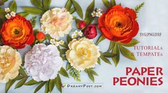 How To Make Paper Flowers, Paper Flowers Craft, Paper Crafts, Paper Peonies, Paper Roses, Giant Flowers, Small Flowers, Leaf Template, Templates