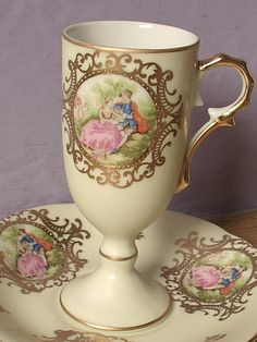 Vintage Lefton china pale yellow tea cup and by ShoponSherman,