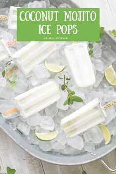 Coconut Mojito Ice Pops Boozy Popsicle Flour On My Face is part of Popsicle recipes Coconut Mojito Ice Pops Boozy Popsicle Summer is the perfect time to make Coconut Mojito Ice Pops for your ne - Alcoholic Popsicles, Fruit Popsicles, Homemade Popsicles, Breakfast Popsicles, Coconut Popsicles, Alcoholic Beverages, Ice Pop Recipes, Popsicle Recipes, Slushies