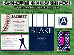 Baseball Theme Bar Mitzvah Invitations & Favors from Cutie Patootie Creations - mazelmoments.com