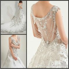 2015 Luxury Crystal Wedding Dresses Ball Gown Wedding Dresses Sequined Beads Sleeveless Hollow Wedding Dresses Online with $513.09/Piece on Gonewithwind's Store | DHgate.com