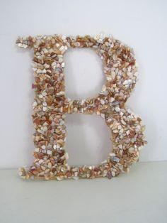 "Gorgeous Seashells Monogram Letter ""B"" Wedding Monogram, Beach wedding decor, Wedding chair decor, Beach theme  https://www.etsy.com/listing/174511030/gorgeous-seashells-monogram-letter-b?ref=listing-shop-header-2"