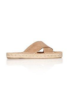 Best Summer Sandals—Tan Matt Bernson Porto Slide sandals with thick criss-cross straps