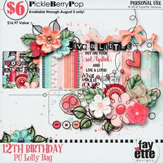 I can't believe it's been 12 years PBP! I'm so grateful for the opportunity I have to be inspired by so many creative and amazing people. 12th Birthday, Birthday Celebration, Happy Birthday, Lolly Bags, Live A Little, Red Lipsticks, Bag Sale, Digital Scrapbooking, Snail Mail