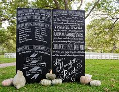 Not a fan of ceremony programs? Try this budget-friendly alternative: Write out your ceremony time line and wedding attendants' names on a chalkboard that will greet guests as they arrive.