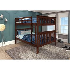 Shop for Donco Kids Mission Pine Full-over-full Bunk Bed. Get free delivery On EVERYTHING* Overstock - Your Online Furniture Outlet Store! Bunk Bed Sets, Bunk Bed With Trundle, Full Bunk Beds, Full Bed, Kid Beds, Full Full, Under Bed Drawers, Bunk Beds With Drawers, Bunk Beds With Stairs