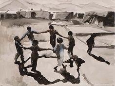 Nour-Eddine Jarram - La Dance Macabre, 2016 watercolour on paper 50 x 65 cm Watercolor Water, Creative Thinking, Love People, Macabre, Art Photography, Sketchbooks, Footprint, Figurative, Drawings