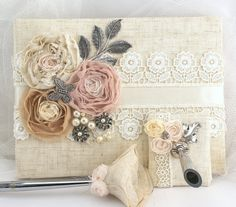 wedding guest book guestbook lace shabby chic natural linen lace rh pinterest com shabby chic baby shower guest book
