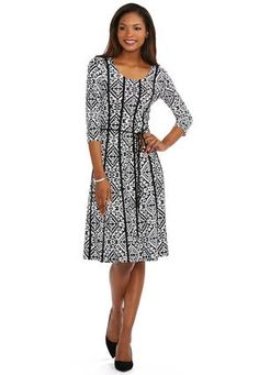 Cato Fashions Piped Diamond Print Panel Dress-Plus #CatoFashions