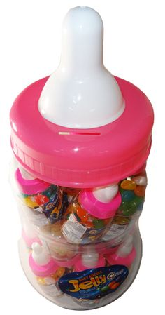 Baby Bottle Jelly Beans - Pink, by Universal Candy,  and more Confectionery at The Professors Online Lolly Shop. (Image Number :6057)