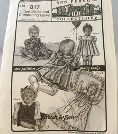 BABY Doll INFANT Dresses + CHRISTENING Gown Sewing Pattern Stretch & Sew 817 Uncut 86c by Thriftnstyle on Etsy