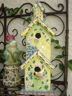 """Mosaic Birdhouses -- very creative.  Can """"stack em"""" too."""