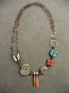 Sharon Borsavage - REVOLVE necklace, sea urchin abalone shell glass by livewirejewelrysb