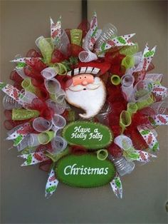 "26"", 'Have a Holly Jolly Christmas' Santa Spiral Mesh Christmas Wreath : $75 - Wreath Giveaway #3 Made by Red-y Made Wreaths. Like & Follow us on Facebook https://www.facebook.com/pages/Red-y-Made-Wreaths/193750437415618 or Visit us at www.redymadewreaths.com"