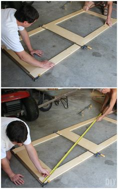 Clamping the door together to make sure it's square.