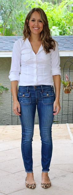 J.Crew front pocket jeans with white button front