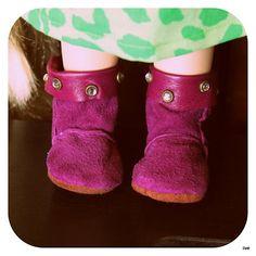 Disney Animator Doll - Purple leather winterboots, my own pattern.