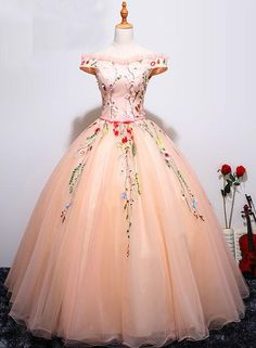 Sleeveless Evening Dresses, Pink Sleeveless Evening Dresses, Long Evening Dresses, Beautiful Prom Dresses Ball Gown Off-the-shoulder Long Chic Prom Dress/Evening Dress Prom Dresses For Teens, Prom Dresses 2018, Long Prom Gowns, Ball Gowns Prom, Ball Dresses, Dress Long, Formal Dresses, Fancy Dress For Teens, Sleeveless Dresses
