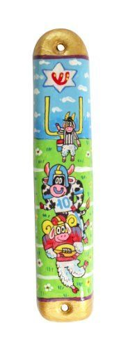 Hand Painted Ceramic Mezuzah for Children with Illustrated Cow Design by World of Judaica. $26.00. With a charming illustration of football-playing cows, this ceramic children's mezuzah is perfect for hanging on your kid's bedroom door to help them fulfill this beautiful mitzvah! Please Note: This mezuzah fits a 10cm klaf, which is not included.