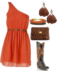 """Orange"" by hotcowboyfan on Polyvore"