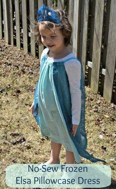 No-Sew Frozen Elsa Pillowcase Dress - a fun dress-up outfit for your little Frozen fan