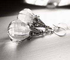 Elegant Clear Acrylic Sterling Silver Drop by sparklingtwi on Etsy, $20.00